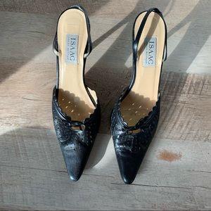 Vintage Isaac Mizrahi Black Leather Heel Slingback